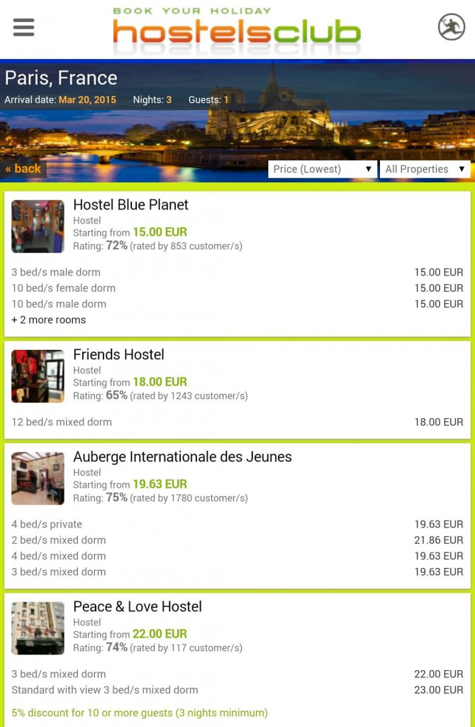 Hostelsclub Rate in Paris